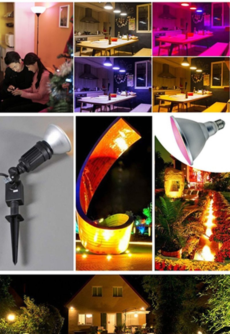 LED Spotlight E27 Dimmable RGB Magic Light 20W Par38 Light Waterproof Outdoor Fl