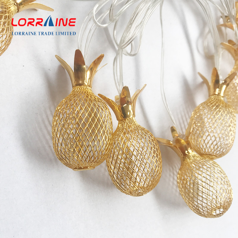 10-Light 12.5Ft Gold Metal Mesh Pineapple Solar light string  Lights